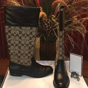 Coach Signature and Brown Leather Riding Boots